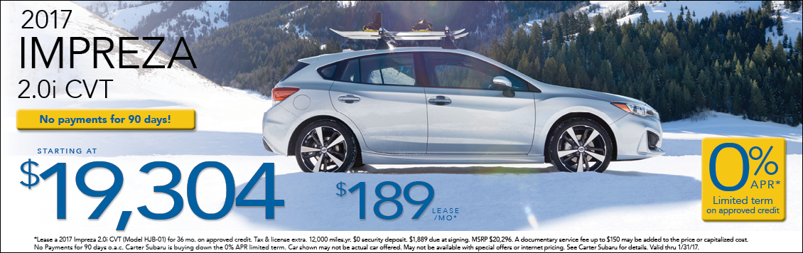Find amazing special offers on the New 2017 Impreza sedan & hatchback at Carter Subaru Shoreline in Seattle