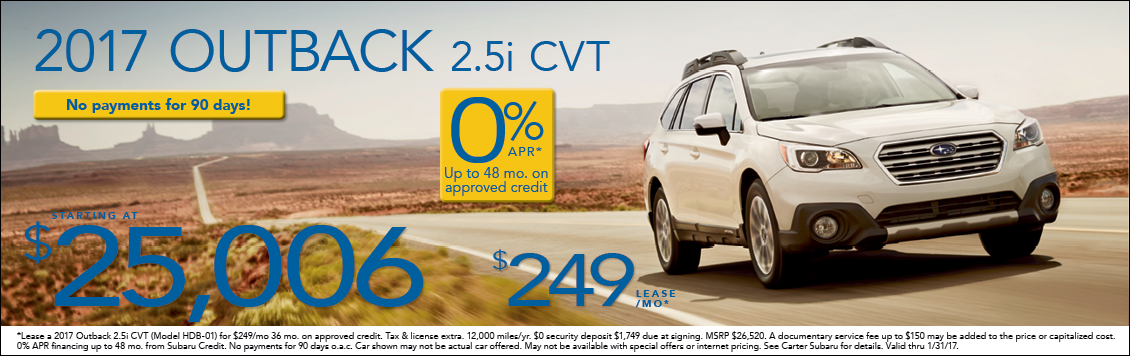 Lease & Purchase Special Offers on the New 2017 Subaru Outback at Carter Subaru Shoreline in Seattle, WA