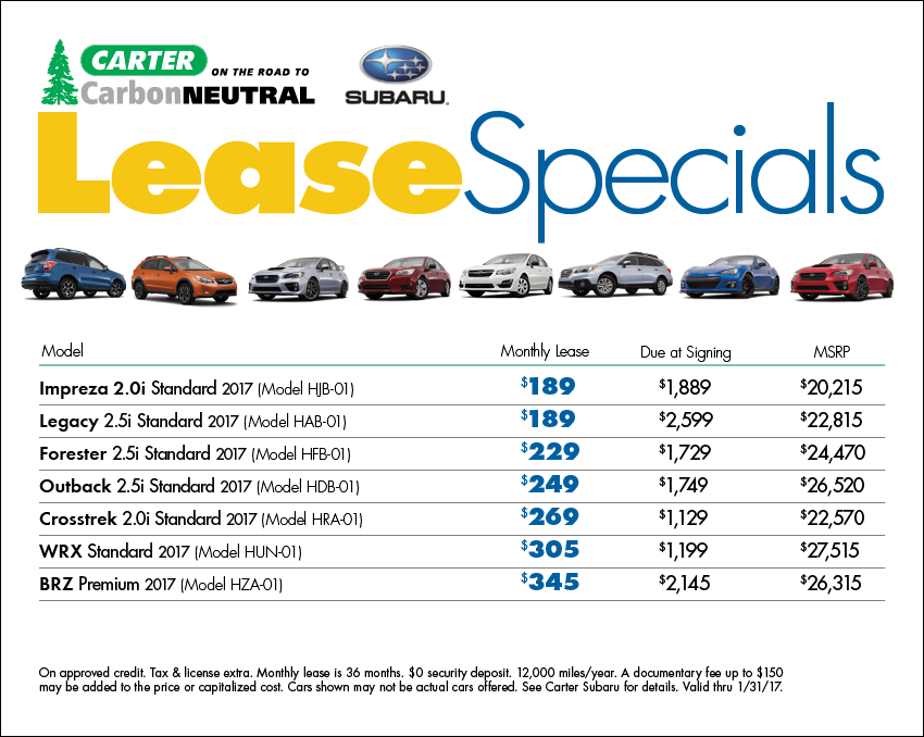 View our complete list of New 2016 & 2017 Subaru model lease specials available this month at Carter Subaru Shoreline in Seattle