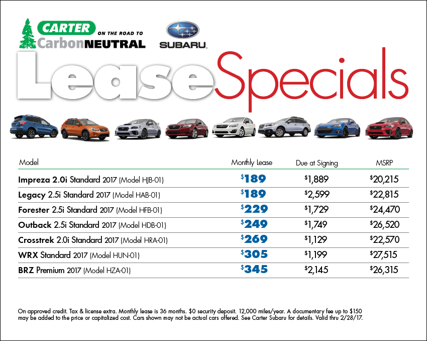 View our complete list of New 2017 Subaru model lease specials available this month at Carter Subaru Shoreline in Seattle