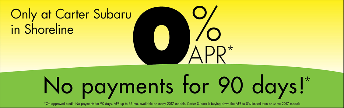 Carter Subaru Shoreline is proud to offer rates as low as 0% on 2016 & 2017 Subaru vehicles from our Seattle new vehicle inventory