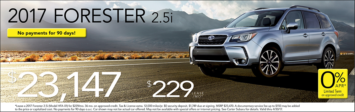 Lease or Purchase a New 2017 Subaru Forester from Carter Subaru Shoreline with these Special Offers in Seattle