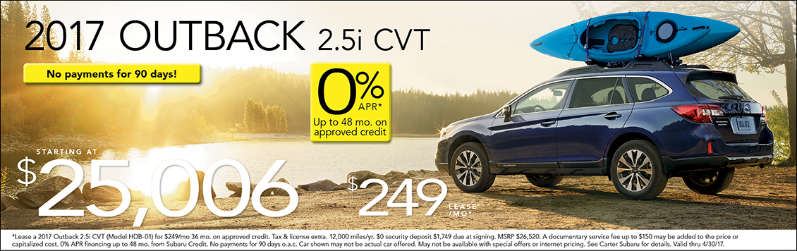 Save on a New 2017 Subaru Outback with Special Lease & Purchase Discounts at Carter Subaru Shoreline in Seattle
