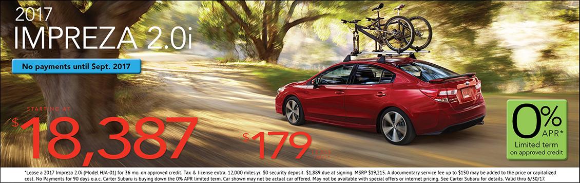 2017 Subaru Impreza 2.0i Sedan Lease or Sales Special in Seattle, WA