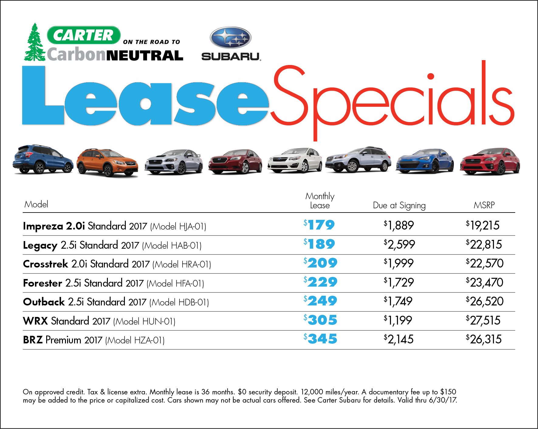 Subaru Low Payment Lease Specials Available in Seattle, WA
