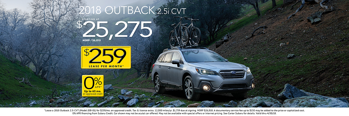 2018 Outback 2.5i CVT sales special at Carter Subaru Shoreline in Seattle, WA