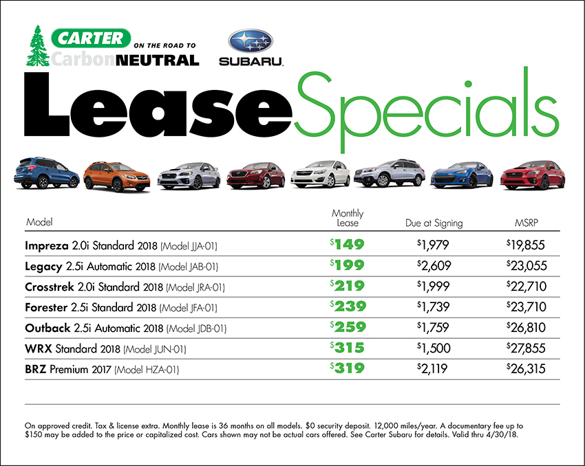 Monthly lease specials at Carter Subaru Shoreline in Seattle, WA