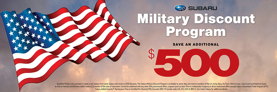 Military Discount Program - Save An Additional $500 on a New Car Purchase at Carter Subaru Shoreline in Seattle, WA