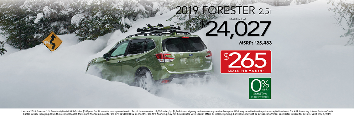 2019 Forester 2.5i Lease or Sales Special at Carter Subaru Shoreline in Seattle, WA