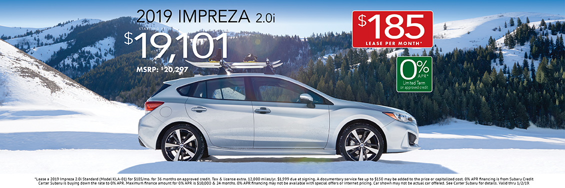 Lease or Buy a 2019 Impreza 2.0i for a Great Price at Carter Subaru Shoreline in Seattle, WA