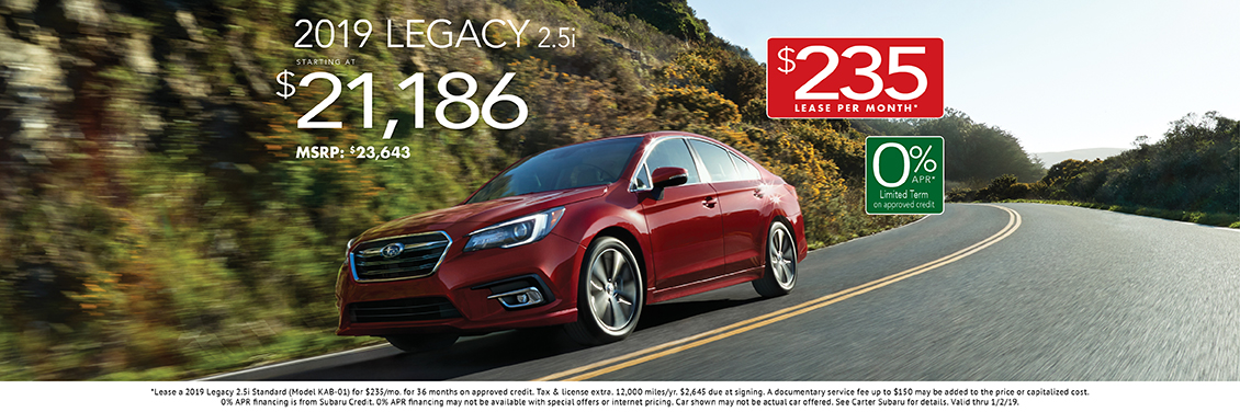 2019 Legacy 2.5i Lease or Purchase Special at Carter Subaru Shoreline in Seattle, WA