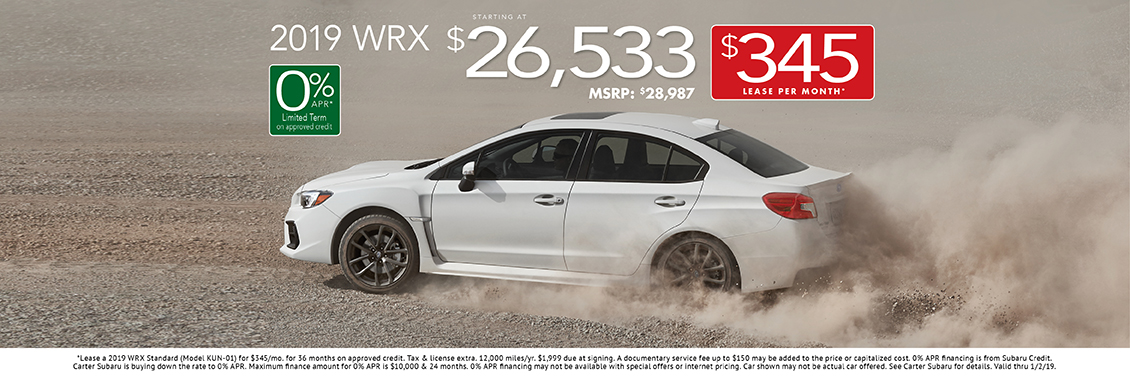 2019 WRX Lease or Purchase Special at Carter Subaru Shoreline in Seattle, WA