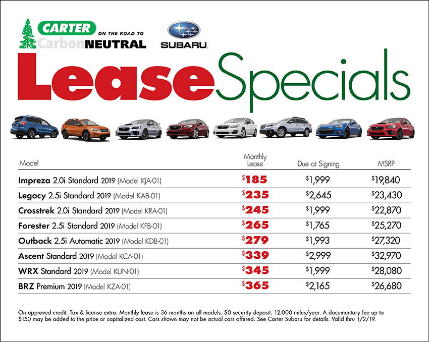 December Lease Special Available at Carter Subaru Shoreline in Seattle, WA
