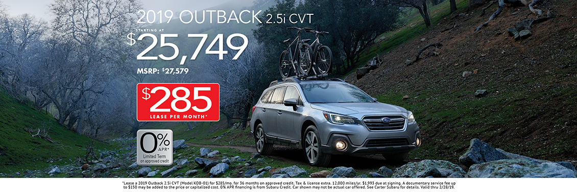 2019 Outback 2.5i CVT Lease or Sales Special at Carter Subaru Shoreline in Seattle, WA