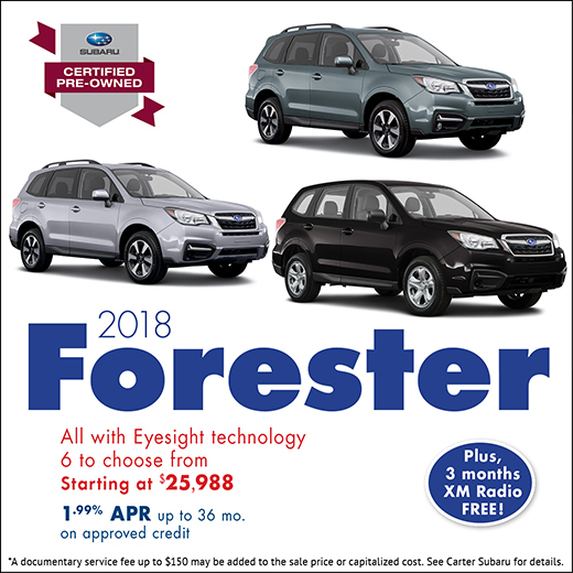 2018 Forester Certified Pre-Owned Special at Carter Subaru Shoreline in Seattle, WA