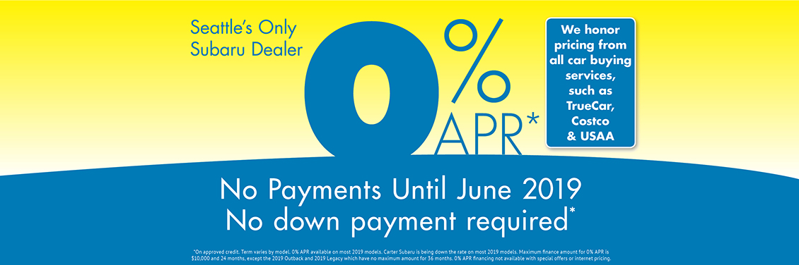0% APR Finance Special and No Payments Until June at Carter Subaru Shoreline in Seattle, WA