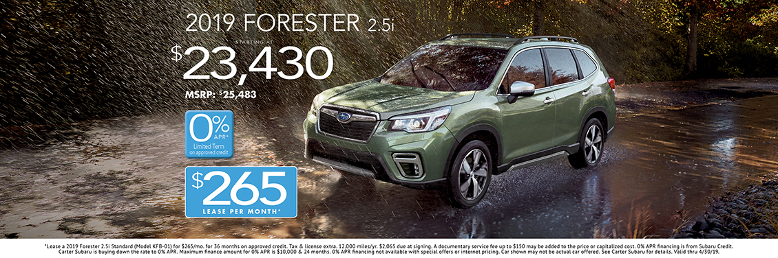 2019 Forester 2.5i Purchase or Lease Special at Carter Subaru Shoreline in Seattle, WA