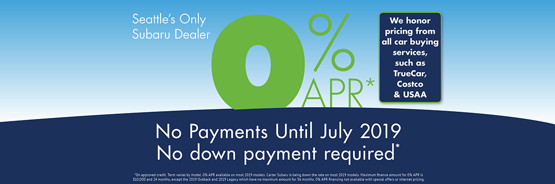 0% APR Finance Special and No Payments Until April at Carter Subaru Shoreline in Seattle, WA
