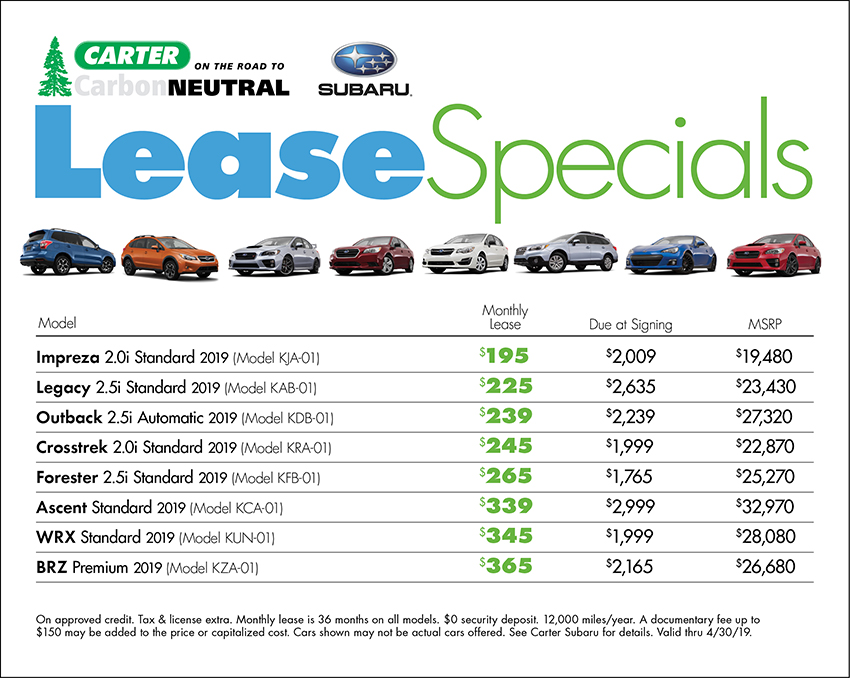 April Lease Special Available at Carter Subaru Shoreline in Seattle, WA