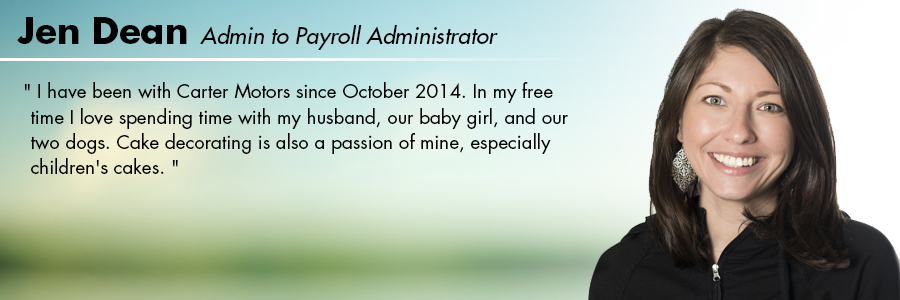 Jen Dean, Admin to Payroll Administrator at Carter Volkswagen in Seattle, WA