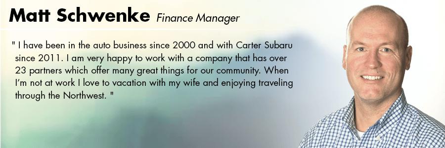 Matt Schwenke Finance Manager at Carter Volkswagen in Seattle, WA