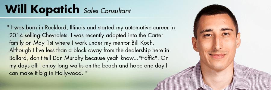 Will Kopatich - Sales Consultant at Carter Volkswagen In Ballard