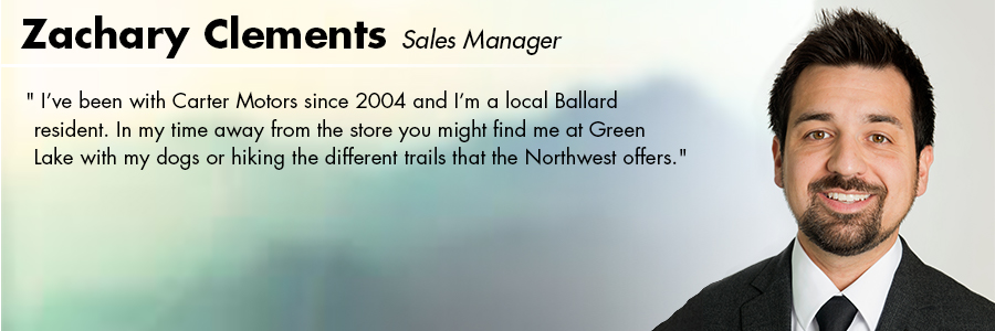 Zachary Clements, Sales Manager at Carter Volkswagen in Seattle, WA