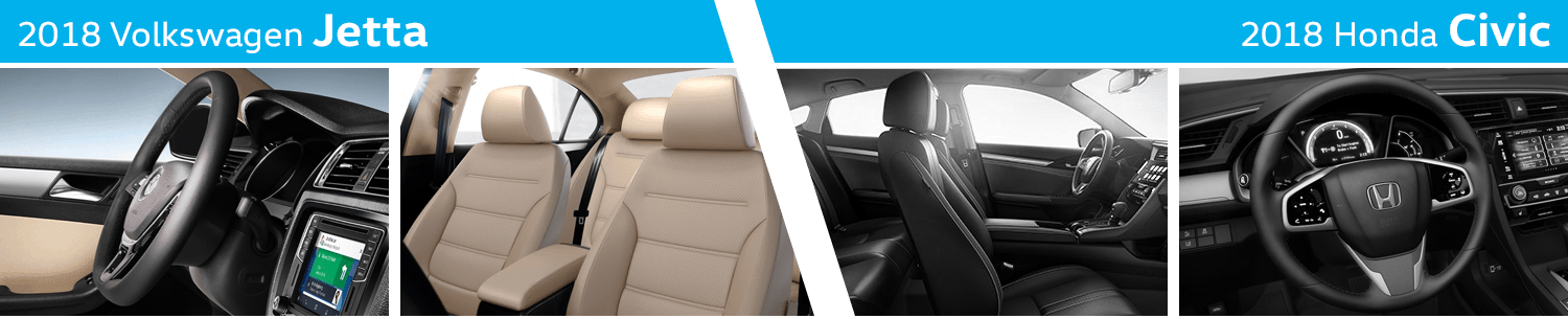 Compare The Interior Styling of the New 2018 Volkswagen Jetta vs 2018 Honda Civic