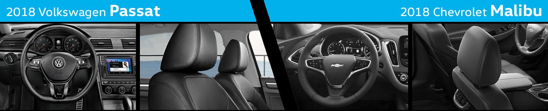 Compare The Interior Styling of the New 2018 Volkswagen Passat vs 2018 Chevrolet Malibu
