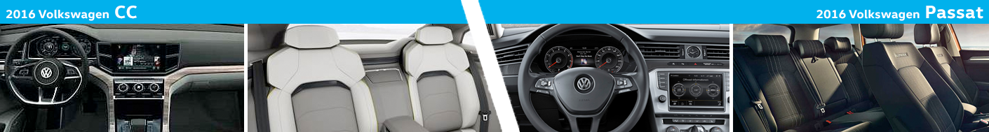 2016 Volkswagen CC and Passat Model Interior Styling Compared