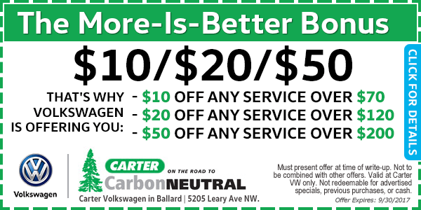 Carter Volkswagen Spend More, Save More Service Special Seattle