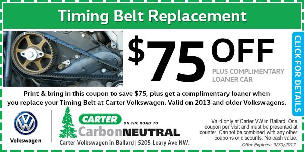 Carter Volkswagen timing belt replacement service discount Special Seattle