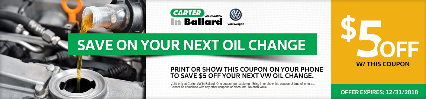 Genuine Vw Oil Change Special Discount Coupon Ballard