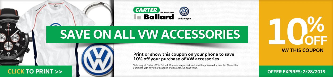 Print this VW Accessories discount offer at Carter Volkswagen in Ballard Seattle, WA