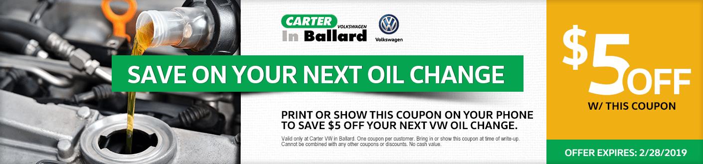 VW Oil Change service discount offer at Carter Volkswagen in Ballard Seattle, WA