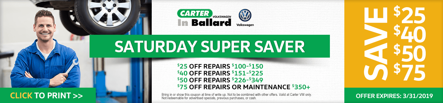 Print this VW Saturday Super Saver service discount offer at Carter Volkswagen in Ballard Seattle, WA
