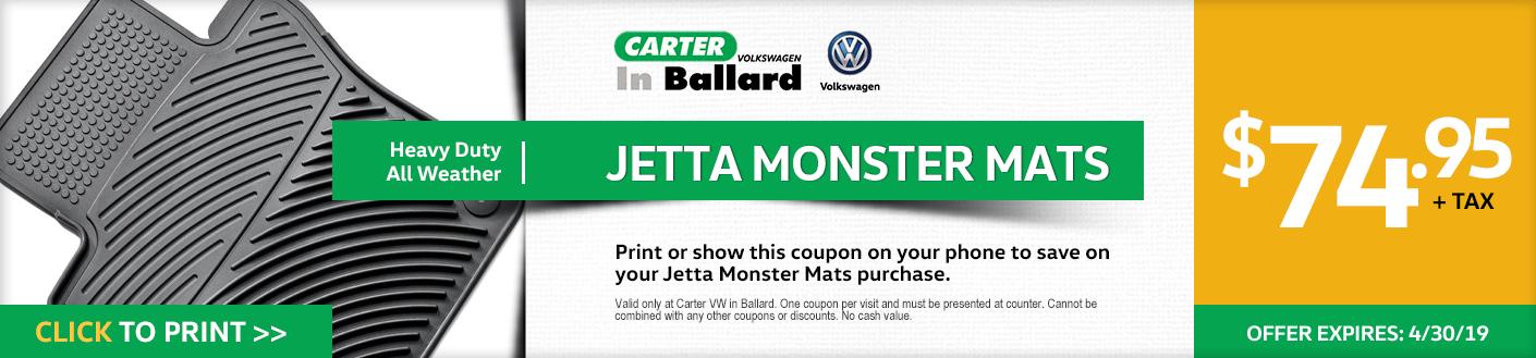 Print this VW Jetta Monster Mats discount offer at Carter Volkswagen in Ballard Seattle, WA