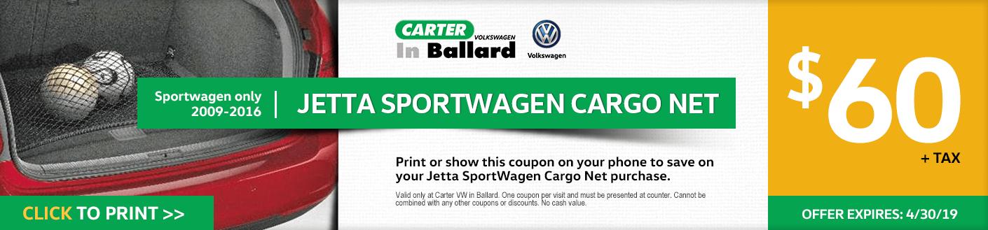 Print this VW Jetta Sportwagen Cargo Net discount offer at Carter Volkswagen in Ballard Seattle, WA
