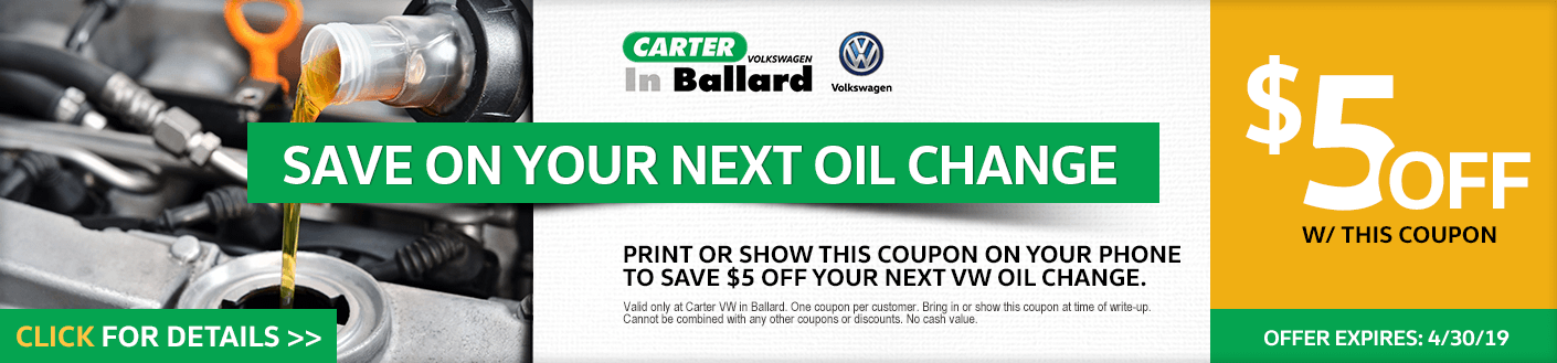 VW Oil Change service discount offer at Carter Volkswagen in Ballard Seattle, WA