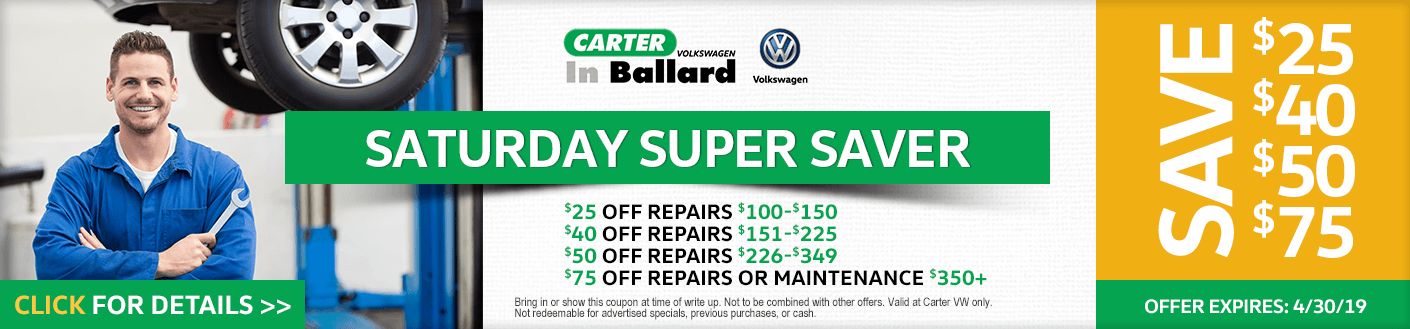 VW Saturday Super Saver service discount offer at Carter Volkswagen in Ballard Seattle, WA