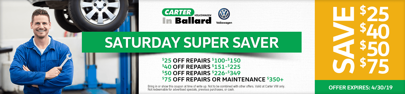 VW Saturday super saver service discount offer at Carter Volkswagen in Ballard Seattle, WA