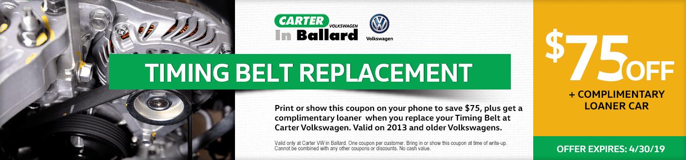 VW timing belt replacement service discount offer at Carter Volkswagen in Ballard Seattle, WA