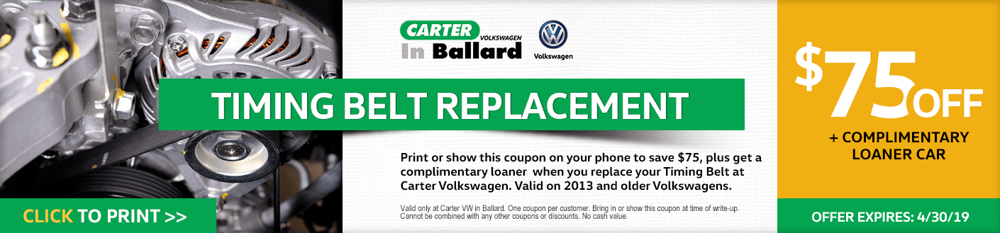 Print this VW timing belt replacement service discount offer at Carter Volkswagen in Ballard Seattle, WA