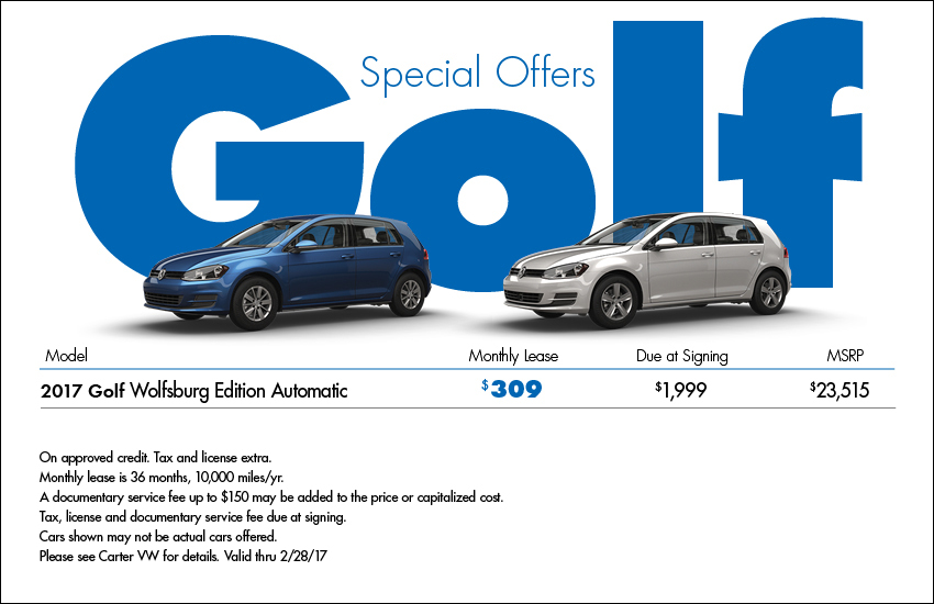 Save on a New 2017 VW Golf Wolfsburg Edition with this Low Payment Lease Offer or Purchase Discount in Seattle