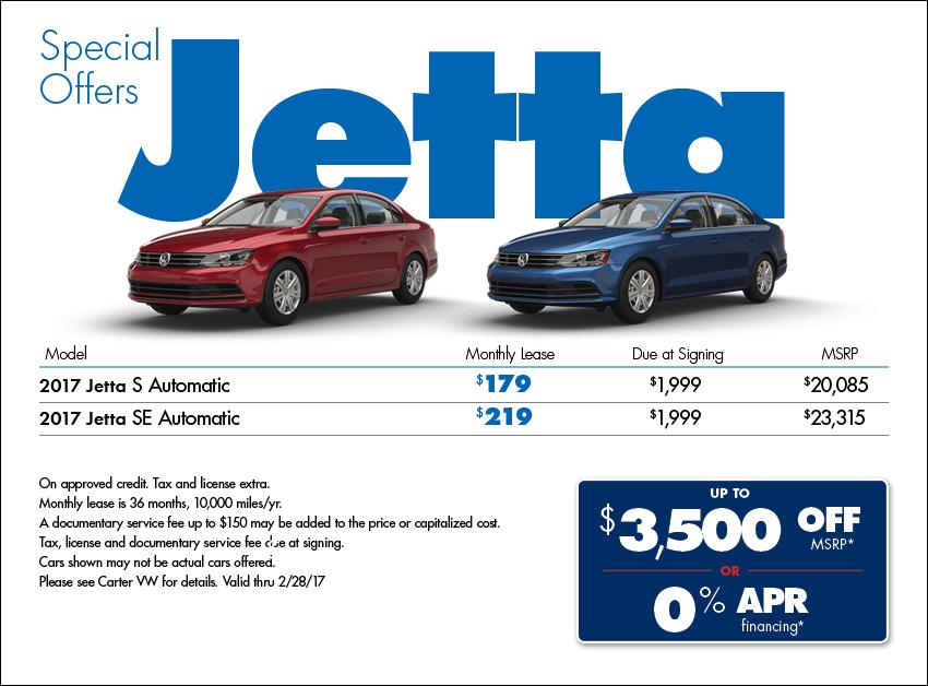Carter Volkswagen's New 2017 VW Jetta Lease Discounts & Purchase Offers in Seattle