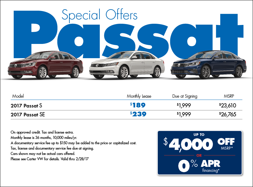 Save when you Purchase or Lease a New 2017 VW Passat from Carter VW this month in Seattle