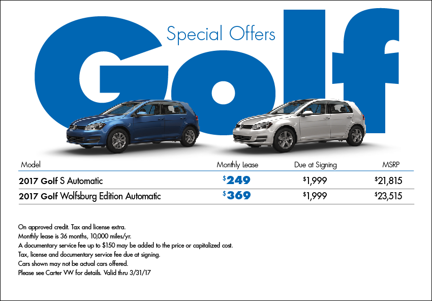 Save with our New 2017 Golf Lease Special Offers available this month at Carter VW in Seattle