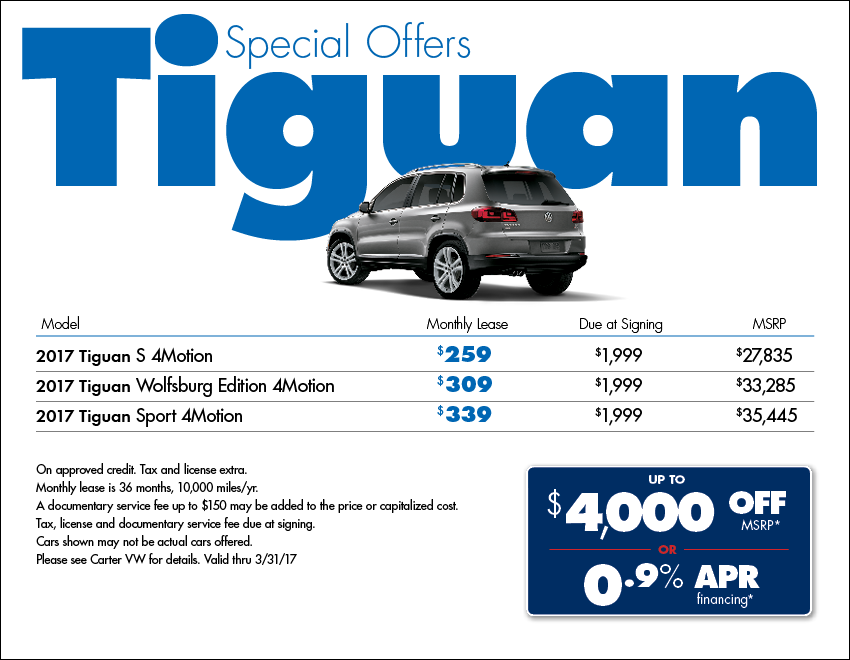 Save on a New 2017 Volkswagen Tiguan in Seattle at Carter VW