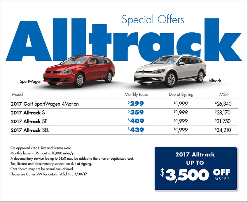 Save on a New 2017 Volkswagen Golf Alltrack at Carter VW in Seattle