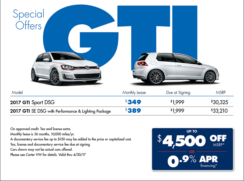 New 2017 GTI Lease Specials at Carter VW in Seattle WA